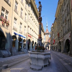 Typical houses and tram in Bern city center, Switzerland Stock Footage