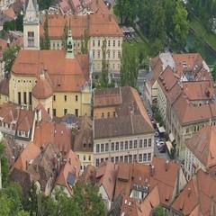 Saint James Parish Church in Ljubljana, Slovenian landmark, travel to Europe Stock Footage