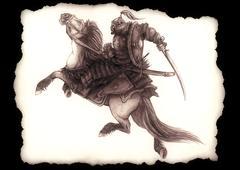 Mongolian horseman Stock Illustration