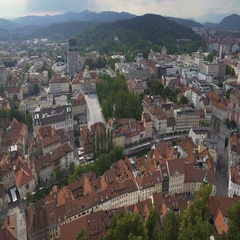 Amazing panorama of Ljubljana, old historical center of Slovenian capital city Stock Footage