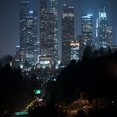 8K Los Angeles Skyscrapers 03 Time Lapse Night Stock Footage