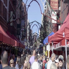 Empire State Building view from Little Italy in Feast of San Gennaro NYC Stock Footage