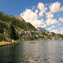 Sankt Moritzersee near sankt Moritz old town, Switzerland. Stock Footage