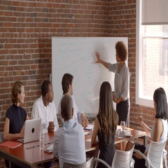 Businesswoman At Whiteboard Giving Presentation In Boardroom Stock Footage