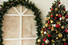 Design room with Christmas fir and the window. Interior country-style Stock Photos