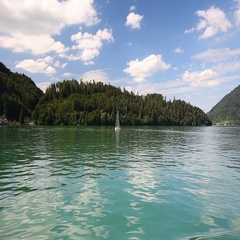 Beautiful Swiss landscape from boat and Swiss Alps, Switzerland, Europe. Stock Footage