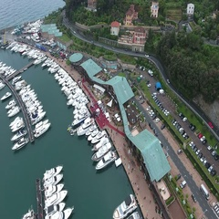 Aerial landscape of a tourist's port Stock Footage