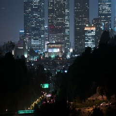 6K Los Angeles Skyscrapers 14 Time Lapse Night Stock Footage