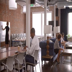 Interior Of Busy Modern Office With Staff Working Arkistovideo