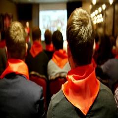 Meeting of the Communist pioneers Komsomol - listeners in red ties listens for Stock Footage