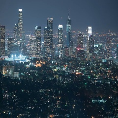 6K Los Angeles Skyline 73 Night Time Lapse Griffith Park Stock Footage