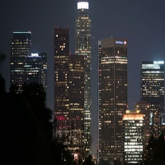 6K Los Angeles Skyscrapers 35 Time Lapse Night Stock Footage