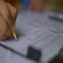 The hand write and crumple a paper. Slow motion Stock Footage