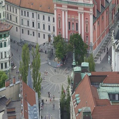Many tourists walking Preseren Square in Ljubljana, tour to Slovenia, top view Stock Footage
