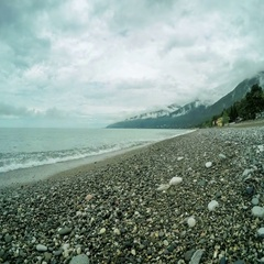 4K. Movement of the clouds over the Black Sea. Gagra, Abkhazia, Ultra HD.  Stock Footage