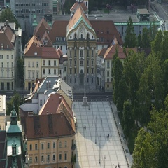 Holy Trinity Parish Church in Ljubljana, religious sightseeing tour to Slovenia Stock Footage