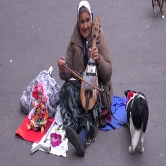 Old woman musician emigrant playing on ancient violin in Paris street Stock Footage