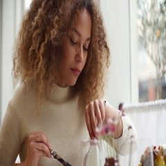 Close Up Of Woman Enjoying Meal In Restaurant Arkistovideo