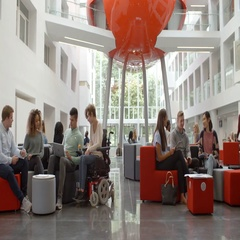 Students socialising in the lobby of a university, low angle Stock Footage