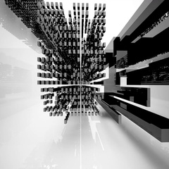 Abstract architectural interior with black geometric sculpture. Stock Footage