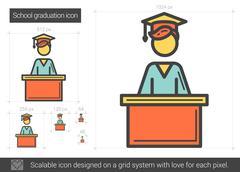 School graduation line icon Piirros