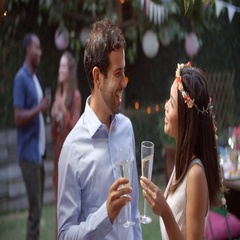 Young Couple Celebrating Wedding With Party In Backyard Stock Footage