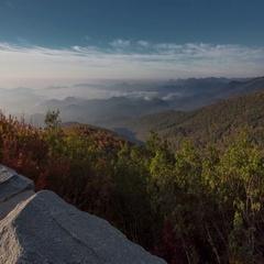 4K TL BRP Rough Ridge Wall Valley Fog Stock Footage