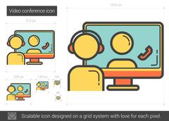 Video conference line icon Stock Illustration