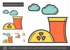 Nuclear pollution line icon Stock Illustration