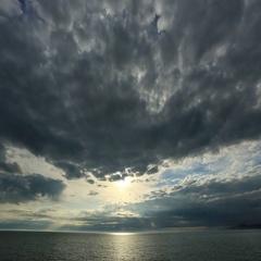 4K. Timelapse sunset on the Black sea. Adler, Russia. Ultra HD, 4096x2304. Stock Footage