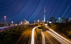 Auckland City Lights  Auckland's Night Traffic  Stock Photos