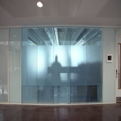 Silhouette Of Business Meeting Behind Frosted Glass Window Stock Footage