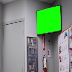 Display tv with green screen inside Life lab medical  with 4k resolution Stock Footage