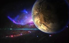 Exoplanet on the background of galactic nebula. Stock Illustration