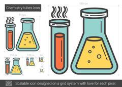 Chemistry tubes line icon Stock Illustration