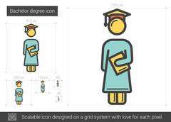Bachelor degree line icon Stock Illustration