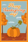 Pumpkin. Happy thanksgiving day card with child leafs and congratulation Stock Illustration