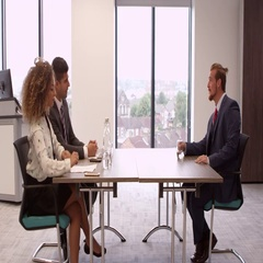 Male Job Candidate Being Interviewed In Office Shot On R3D Stock Footage