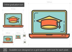 Online graduation line icon Piirros