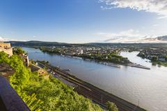 Koblenz Oldtown and Deutsches Eck Stock Photos