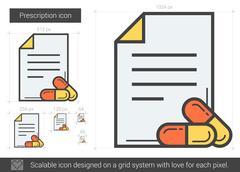 Prescription line icon Stock Illustration