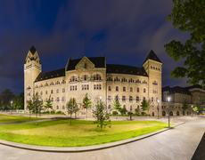 Former Prussian Government Building in Koblenz, Germany At Night Stock Photos