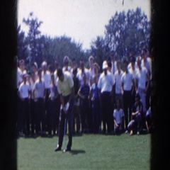 1961: visitors watching a golf tournament. RIDGEFIELD, NEW-JERSEY Stock Footage