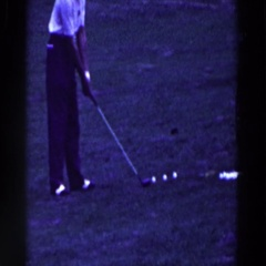 1961: man practicing his golf swing. RIDGEFIELD, NEW-JERSEY Stock Footage