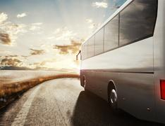 Bus driving on road. 3D Rendering Piirros