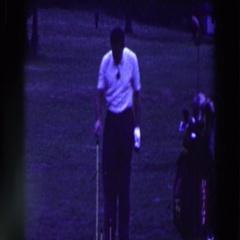 1961: man sets up golf shot RIDGEFIELD, NEW-JERSEY Stock Footage