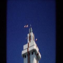 1958: control tower flies american flag. SOUTH, CAROLINA Stock Footage