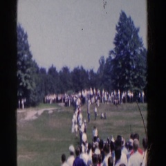 1961: crowd watching a kite go soaring in the sky. RIDGEFIELD, NEW-JERSEY Stock Footage
