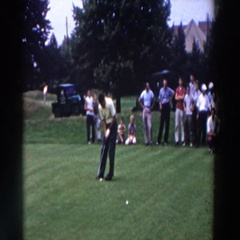 1961: a man golfing in front of a group of people RIDGEFIELD, NEW-JERSEY Stock Footage