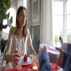 Man Gives Woman Gift At Romantic Valentines Day Meal Stock Footage